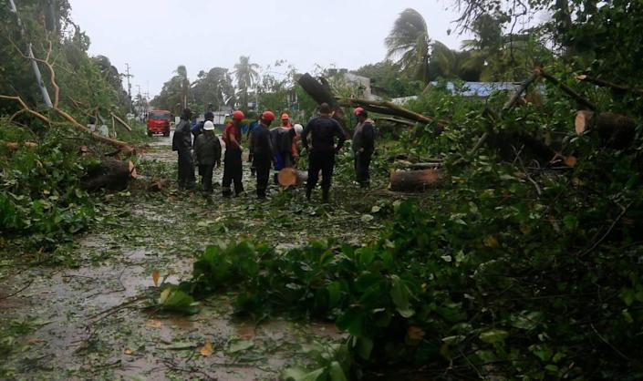 Workers cut up trees felled by Hurricane Iota on San Andres island, Colombia. Iota moved over the Colombian archipelago of San Andres, Providencia and Santa Catalina, off Nicaragua's coast, as a Category 5 hurricane.