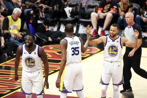 CLEVELAND,OH - Draymond Green #23, Kevin Durant , and Stephen Curry #30 of the Golden State Warriors react in Game Four of the 2018 NBA Finals on June 8, 2018 at Quicken Loans Arena in Cleveland, Ohio. (Photo by Joe Murphy/NBAE via Getty Images)