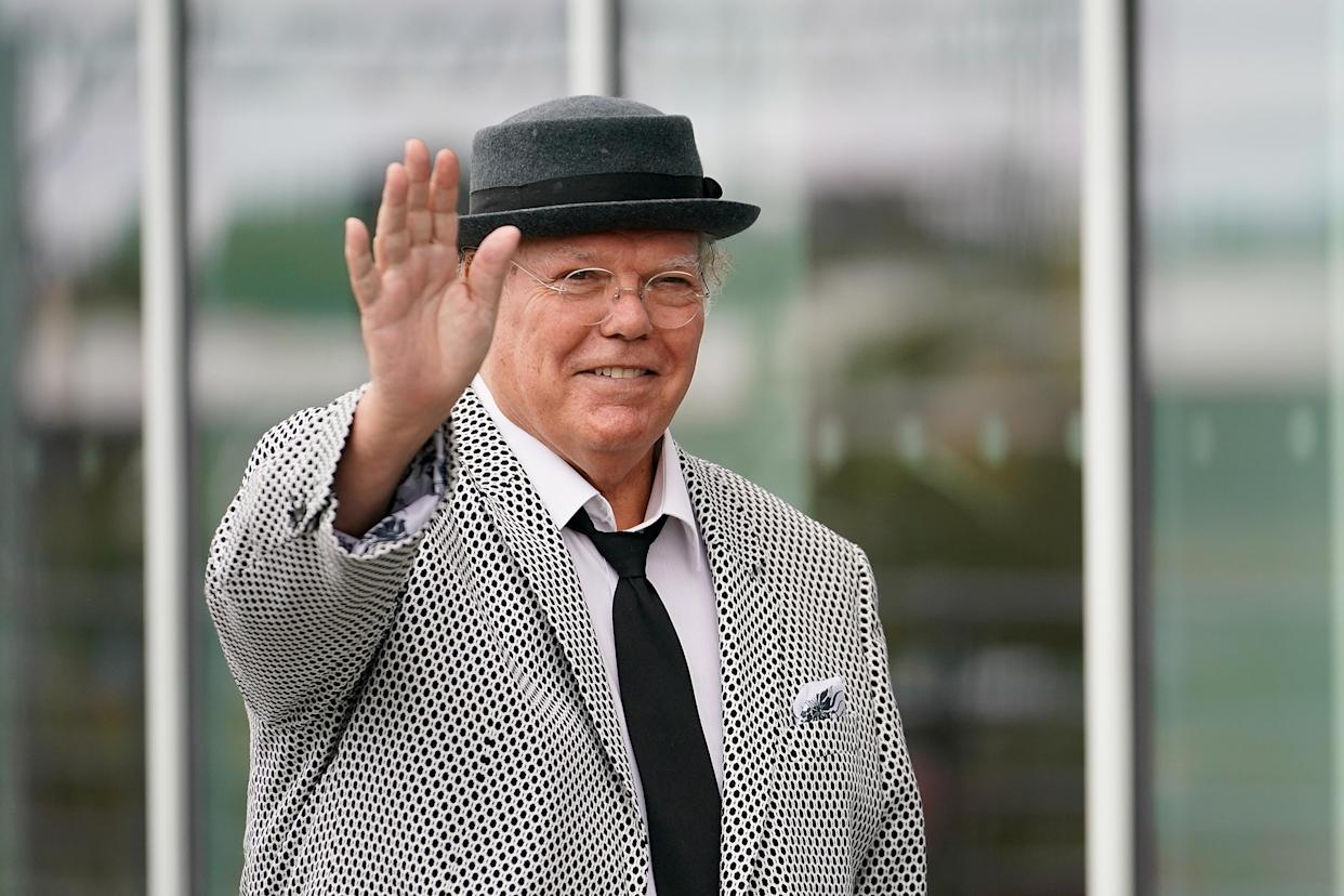 ROTHERHAM, ENGLAND - AUGUST 17:  Comedian Roy Chubby Brown arrives for the funeral service of Barry Chuckle  at The New York Stadium on August 17, 2018 in Rotherham, England. Comedy entertainer Barry Chuckle died aged 73 after a short period of illness. Barry starred with his brother Paul as the comedy duo The Chuckle Brothers and are famous amongst british fans for their catch phrase