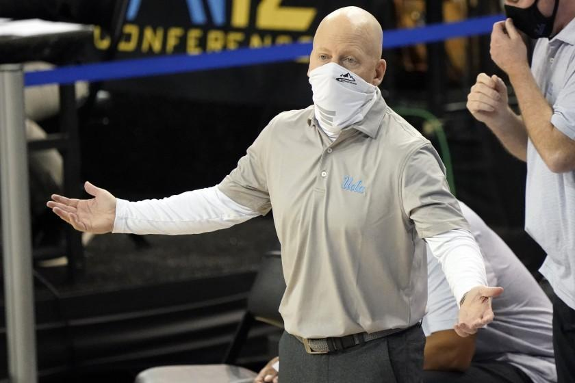 UCLA head coach Mick Cronin argues a call during the second half of an NCAA college basketball game against Colorado Saturday, Jan. 2, 2021, in Los Angeles. (AP Photo/Marcio Jose Sanchez)