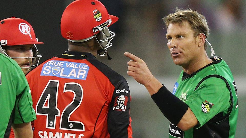 Shane Warne and Marlon Samuels, pictured here during a Big Bash match in 2013.
