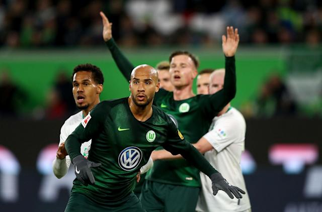 "U.S. defender <a class=""link rapid-noclick-resp"" href=""/soccer/players/375439/"" data-ylk=""slk:John Brooks"">John Brooks</a> (front) scored for the ninth time in his senior Bundesliga career on Sunday. (Getty)"