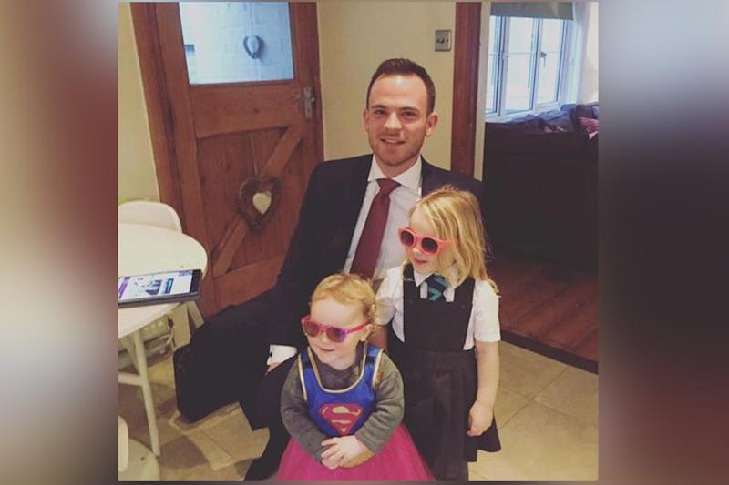 Web hit: Dan Stevenson with Elsie, three, and Marnie, 18 months: Lorna Hayward