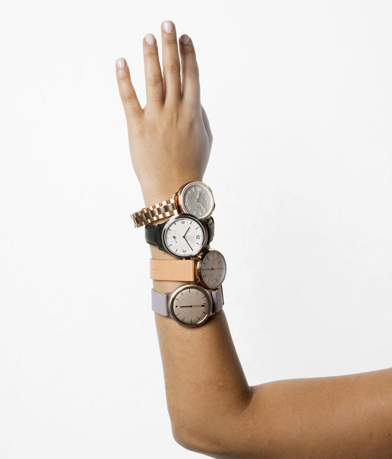 From top to bottom: Fossil, Mondaine, Skagen, and Misfit hybrid smartwatches. (Photo: Priscilla De Castro, Art Direction: Casey Hollister, Fashion Editor: Julie Tong)