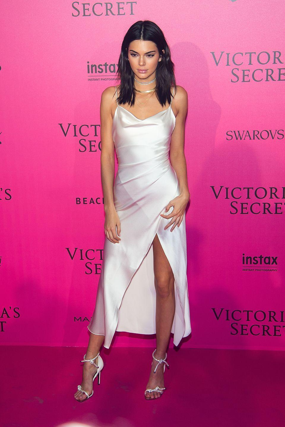 <p>At the Victoria's Secret after party, having walked in the runway show</p>