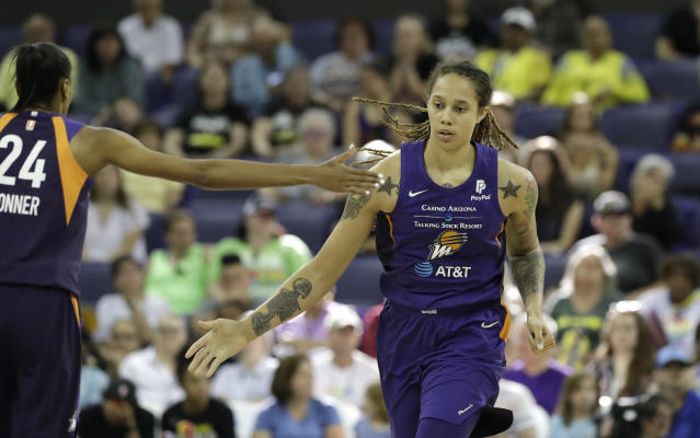 "It's <a class=""link rapid-noclick-resp"" href=""/wnba/players/5057/"" data-ylk=""slk:Brittney Griner"">Brittney Griner</a>'s love for the Mercury, nothing else, that's keeping her in the WNBA. Incoming suspensions after Saturday's brawl, however, could change her future plans. (AP/Elaine Thompson)"