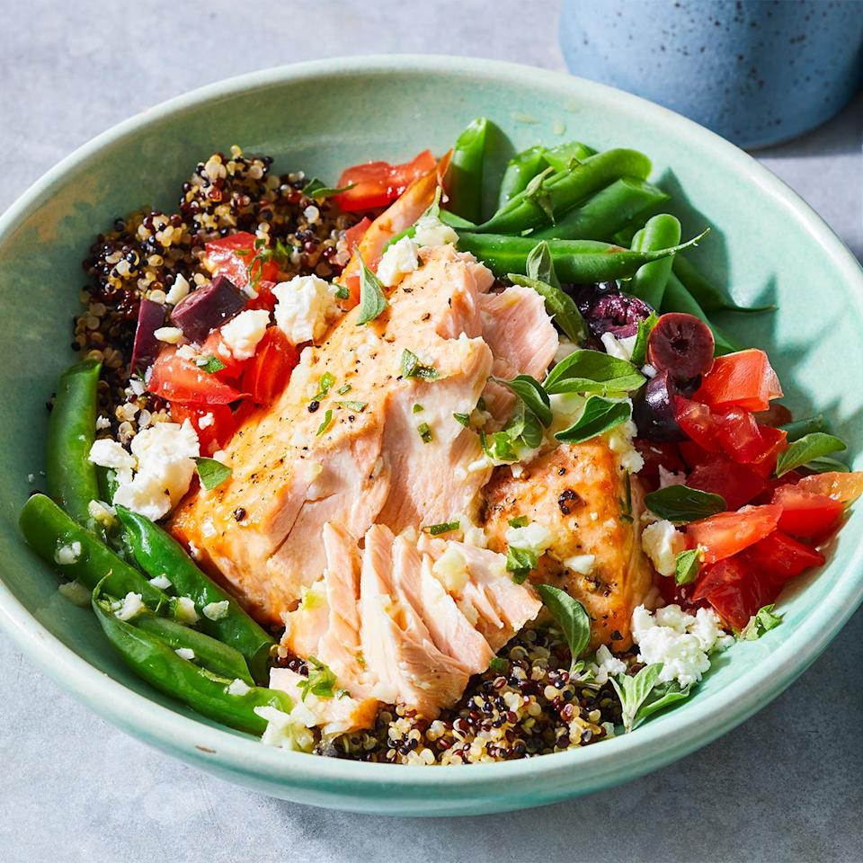 <p>This flavorful and easy salmon quinoa bowl is a meal that keeps on giving. Pack up any leftovers for a next-day lunch, or make the entire recipe ahead and pack it into individual serving containers for ready-to-go meals.</p>