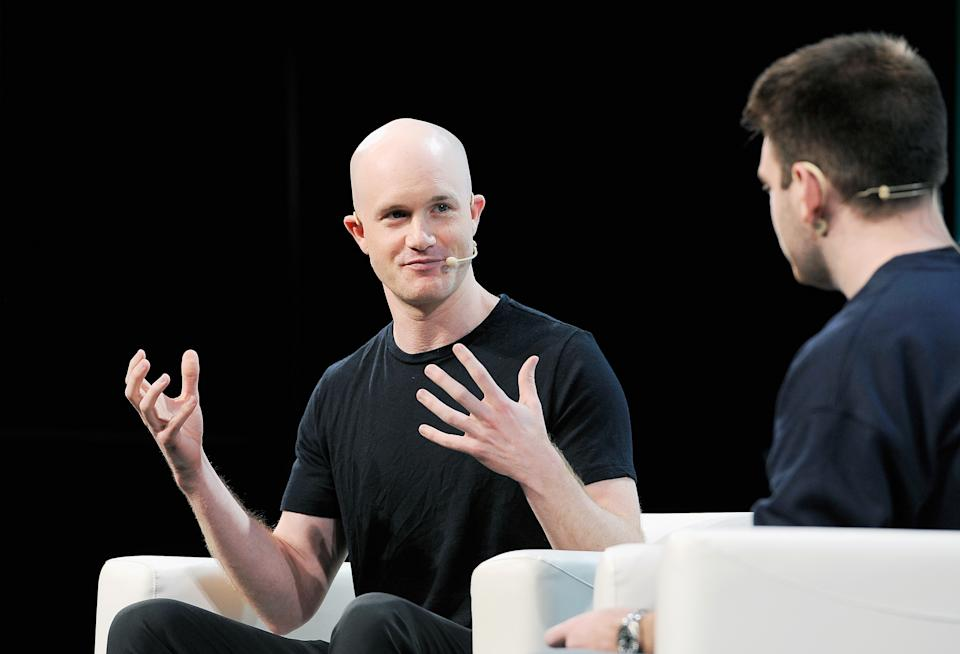 SAN FRANCISCO, CA - SEPTEMBER 07:  Coinbase Co-founder and CEO Brian Armstrong speaks onstage during Day 3 of TechCrunch Disrupt SF 2018 at Moscone Center on September 7, 2018 in San Francisco, California.  (Photo by Steve Jennings/Getty Images for TechCrunch)