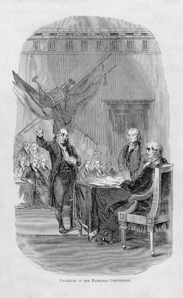 PHOTO: In this engraving, Benjamin Franklin is depicted speaking at the 1787 National Convention held in Philadelphia. (Library of Congress/Prints & Photographs Division)