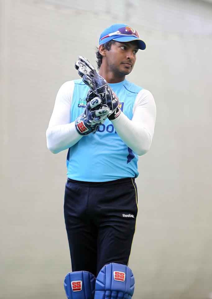 SYDNEY, AUSTRALIA - OCTOBER 24:  Kumar Sangakkara of Sri Lanka looks on prior to the One Day Tour Match between the New South Wales Blues and Sri Lanka at the Sydney Cricket Ground on October 24, 2010 in Sydney, Australia.  (Photo by Jeremy Ng/Getty Images)
