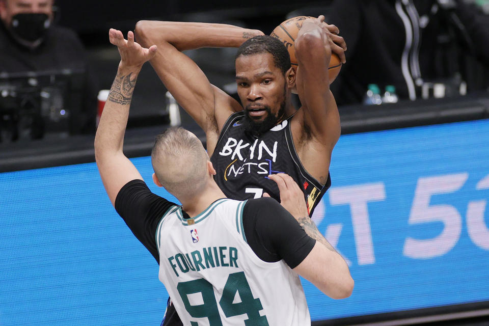 Kevin Durant and the Brooklyn Nets toyed with Evan Fournier and the Boston Celtics in Game 5. (Sarah Stier/Getty Images)