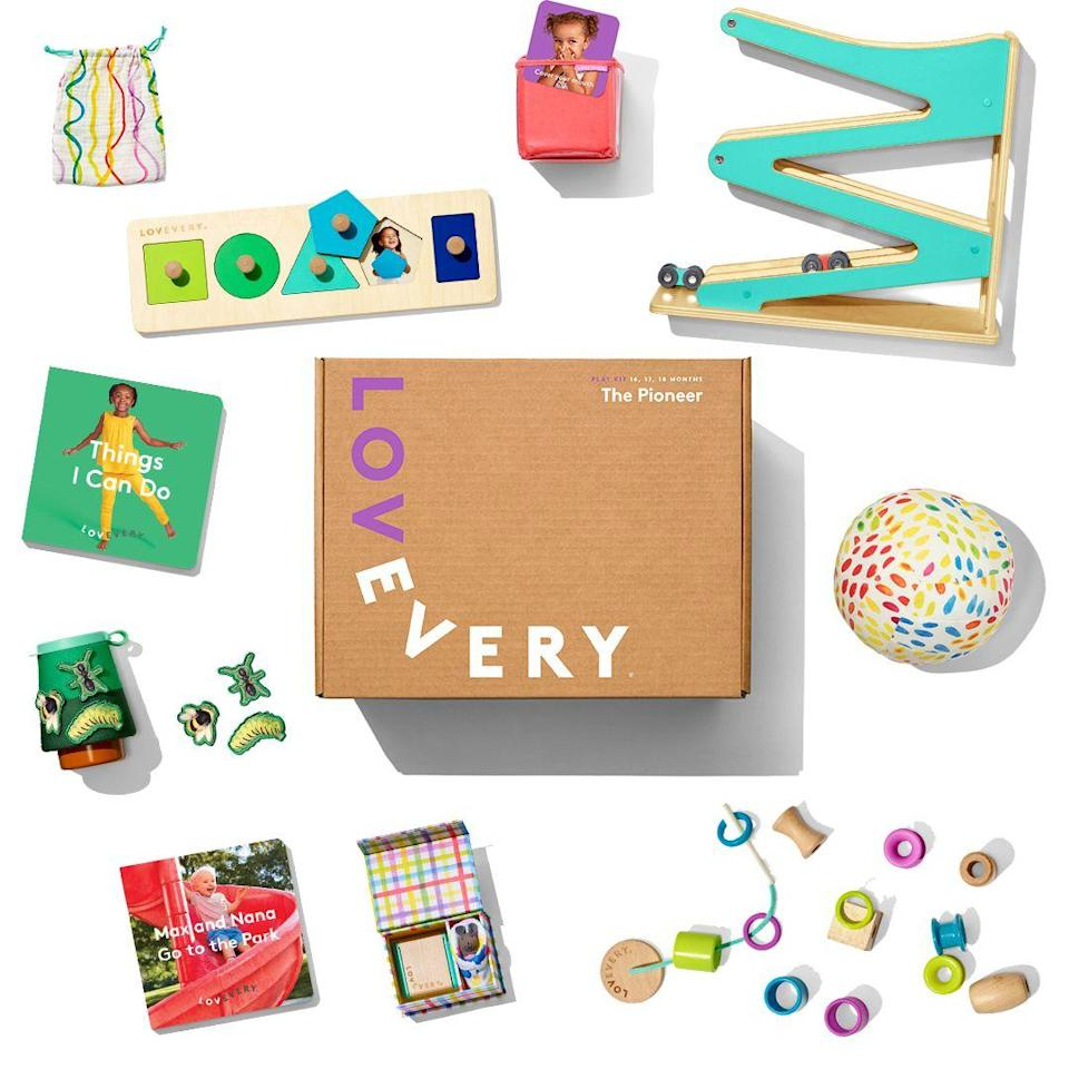 """<p>You can subscribe to Lovevery's """"Play Kits"""" starting from birth. Then, once every other month, you'll receive a box with <strong>new toys that are backed by scientific research and ready to engage their developing brains. </strong>Each kit comes with a guide that walks you through the different ways to play and explains how it matches up with how your kid is growing.</p><p><em>$36+ per box<br>Ages: 0–2</em></p><p><a class=""""link rapid-noclick-resp"""" href=""""https://go.redirectingat.com?id=74968X1596630&url=https%3A%2F%2Flovevery.com%2F&sref=https%3A%2F%2Fwww.goodhousekeeping.com%2Flife%2Fg5093%2Fsubscription-boxes-for-kids%2F"""" rel=""""nofollow noopener"""" target=""""_blank"""" data-ylk=""""slk:BUY NOW"""">BUY NOW </a></p><p><strong>RELATED:</strong> <a href=""""https://www.goodhousekeeping.com/childrens-products/toy-reviews/g5152/best-toys-for-one-year-olds/"""" rel=""""nofollow noopener"""" target=""""_blank"""" data-ylk=""""slk:The Best Toys for 1-Year-Olds Growing Out of Their Baby Gifts"""" class=""""link rapid-noclick-resp"""">The Best Toys for 1-Year-Olds Growing Out of Their Baby Gifts</a><br></p>"""