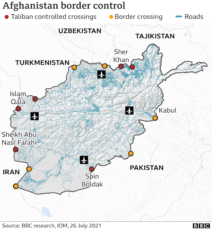 Map showing border crossings and checkpoints taken by the Taliban
