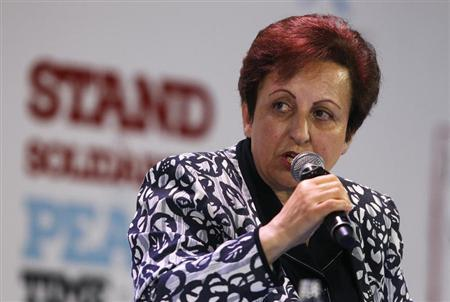 2003 Nobel Peace prize laurate Shirin Ebadi of Iran speaks during a session of the 13th World Summit of Nobel Peace Prize Laureates at the Palace of Culture in Warsaw