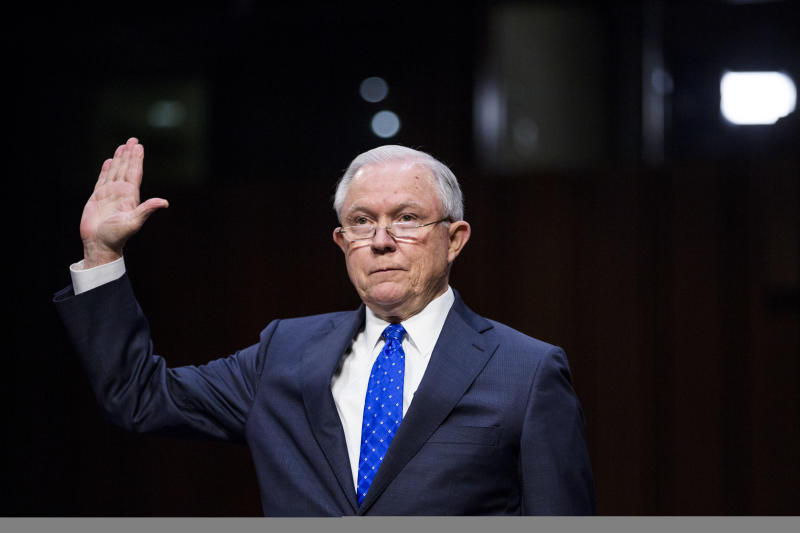 """In 1999, then-Sen. Jeff Sessions said that a """"continuous pattern to lie and obstruct justice"""" was cause for presidential impeachment. (Bloomberg via Getty Images)"""