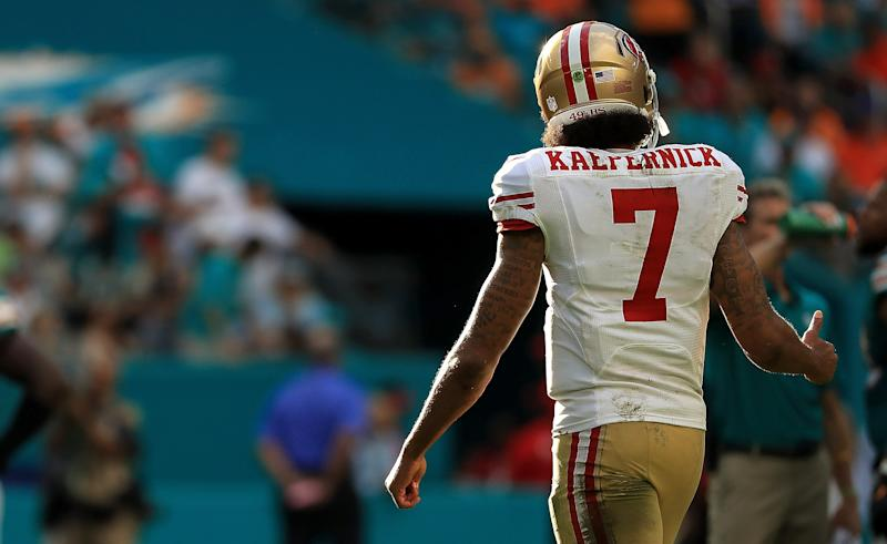 Colin Kaepernick has an ongoing grievance against the NFL. (Getty Images)