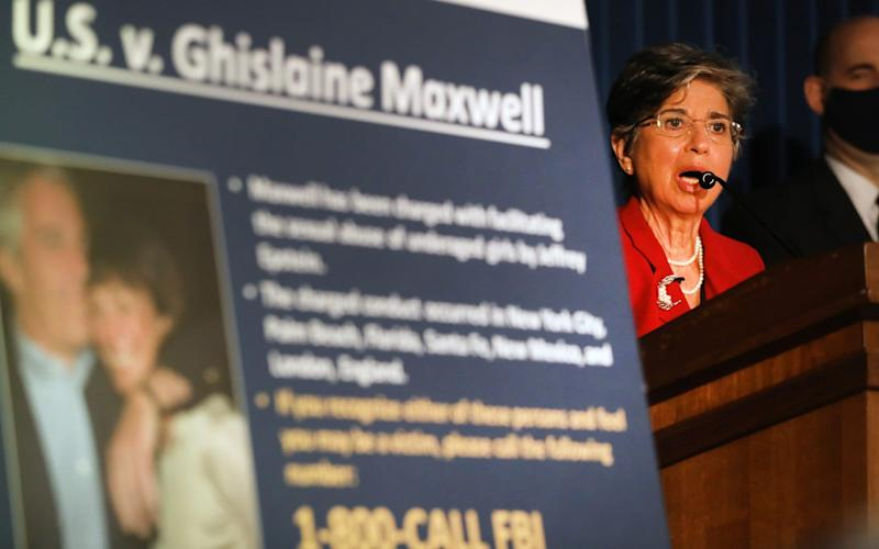 Acting United States Attorney for the Southern District of New York, Audrey Strauss, speaks to the media at a press conference to announce the arrest of Ghislaine Maxwell - Getty