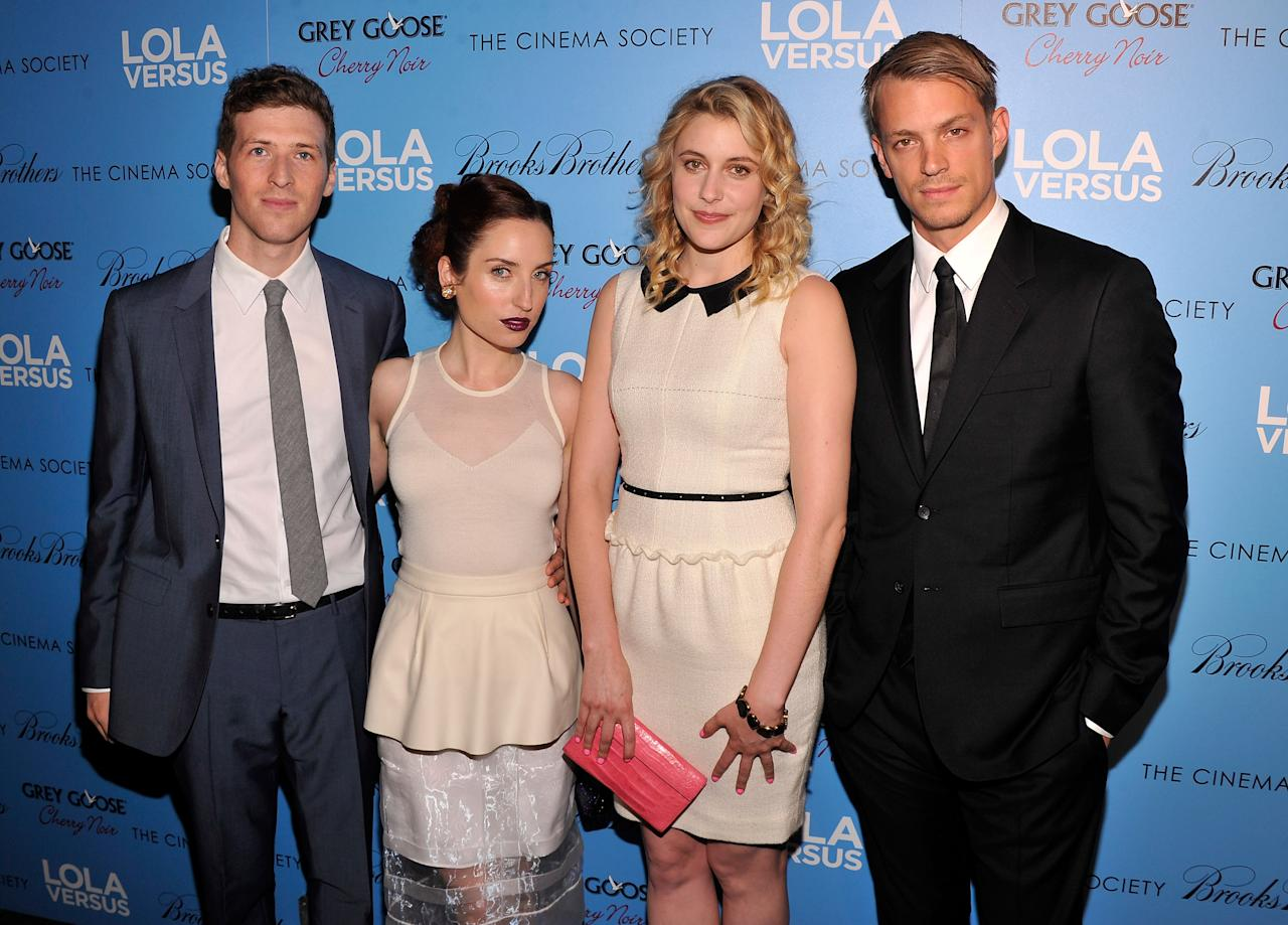 "NEW YORK, NY - JUNE 05:  (Left to right)  Director Daryl Wein, actress Zoe Lister Jones, actress Greta Gerwig, and actor Joel Kinnamon attend The Cinema Society & Fox Searchlight With Groundswell Productions Screening Of ""Lola Versus"" at SVA Theater on June 5, 2012 in New York City.  (Photo by Stephen Lovekin/Getty Images)"