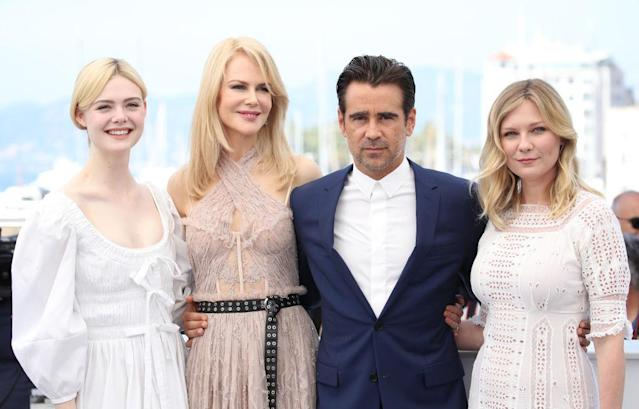 Colin Farrell, with his co-stars in <em>The Beguiled</em>, <em> </em>Elle Fanning, Nicole Kidman, and Kirsten Dunst, at the 2017 Cannes Film Festival. (Photo: Chris Jackson/Getty Images)