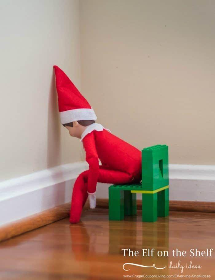 """<p>We're sad to see him in this position, but face it: By Christmas Day, your Elf has likely racked up enough offenses to deserve a time out (or two!). </p><p><strong>Get the tutorial at <a href=""""https://www.frugalcouponliving.com/elf-on-the-shelf-ideas-elf-timeout/"""" rel=""""nofollow noopener"""" target=""""_blank"""" data-ylk=""""slk:Frugal Coupon Living"""" class=""""link rapid-noclick-resp"""">Frugal Coupon Living</a>.</strong></p><p><a class=""""link rapid-noclick-resp"""" href=""""https://www.amazon.com/LEGO-Classic-Creative-Suitcase-Building/dp/B075QRWRYP/ref=sr_1_6?tag=syn-yahoo-20&ascsubtag=%5Bartid%7C10050.g.22690552%5Bsrc%7Cyahoo-us"""" rel=""""nofollow noopener"""" target=""""_blank"""" data-ylk=""""slk:SHOP LEGOS"""">SHOP LEGOS </a></p>"""