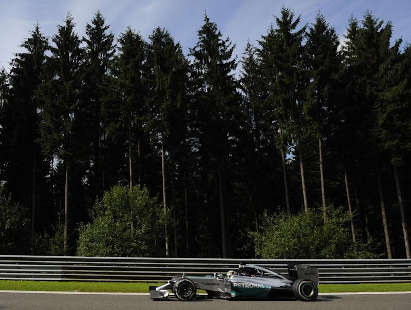 Mercedes' British driver Lewis Hamilton drives during the first practice session at the Spa-Francorchamps circuit in Spa on August 22, 2014 ahead of this weekend's Belgium Formula One Grand Prix