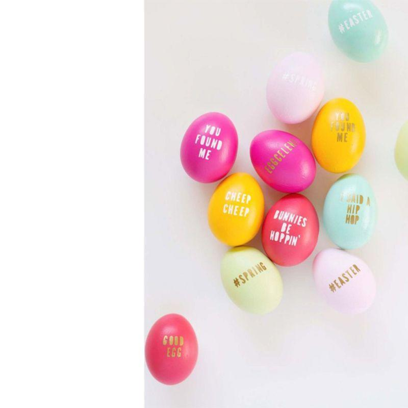 "<p>Include a funny or sweet message on your Easter eggs this year with this easy DIY project.</p><p><em>Get the tutorial at <a href=""http://lovelyindeed.com/diy-typography-easter-eggs/"" rel=""nofollow noopener"" target=""_blank"" data-ylk=""slk:Lovely Indeed"" class=""link rapid-noclick-resp"">Lovely Indeed</a>.</em></p>"