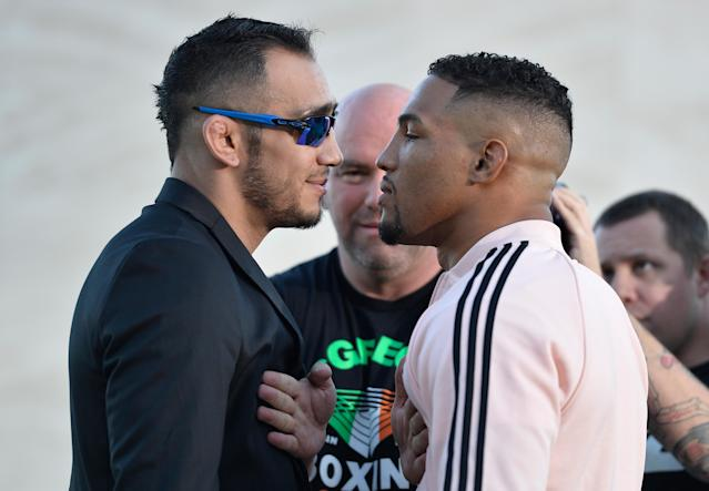 Tony Ferguson (L) will take on Kevin Lee for the UFC interim lightweight title on Saturday. (Getty)