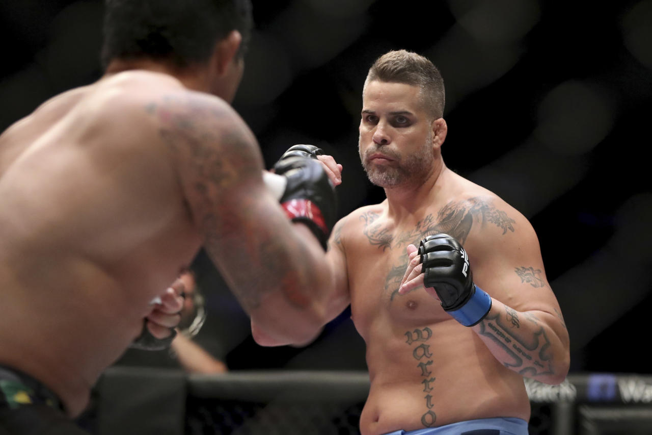 Andre Harrison, left, in action against Nazareno Malegarie during their mixed martial arts bout at PFL 4, Thursday, July 19, 2018, at Nassau Coliseum in New York. Harrison won via unanimous decision. (AP Photo/Gregory Payan)