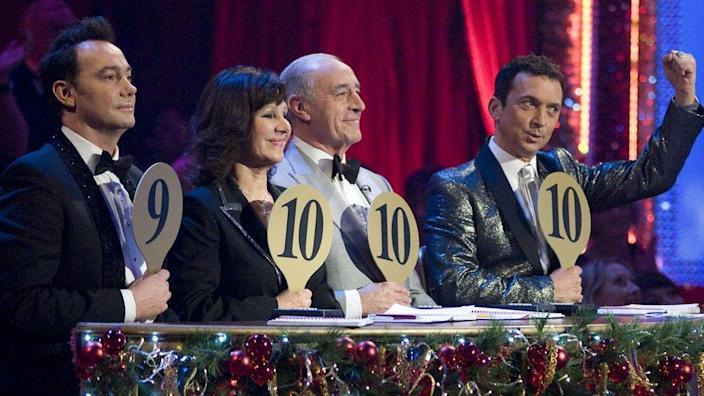 Arlene Phillips and her fellow Strictly Come Dancing judges during the 2008 Christmas show