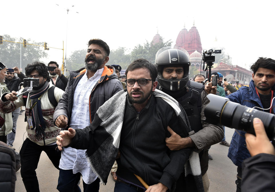 Umar Khalid is detained while protesting against the Citizenship Amendment Act and National Register of Citizens at Red Fort on December 19, 2019 in New Delhi. (Photo by Biplov Bhuyan/Hindustan Times via Getty Images)