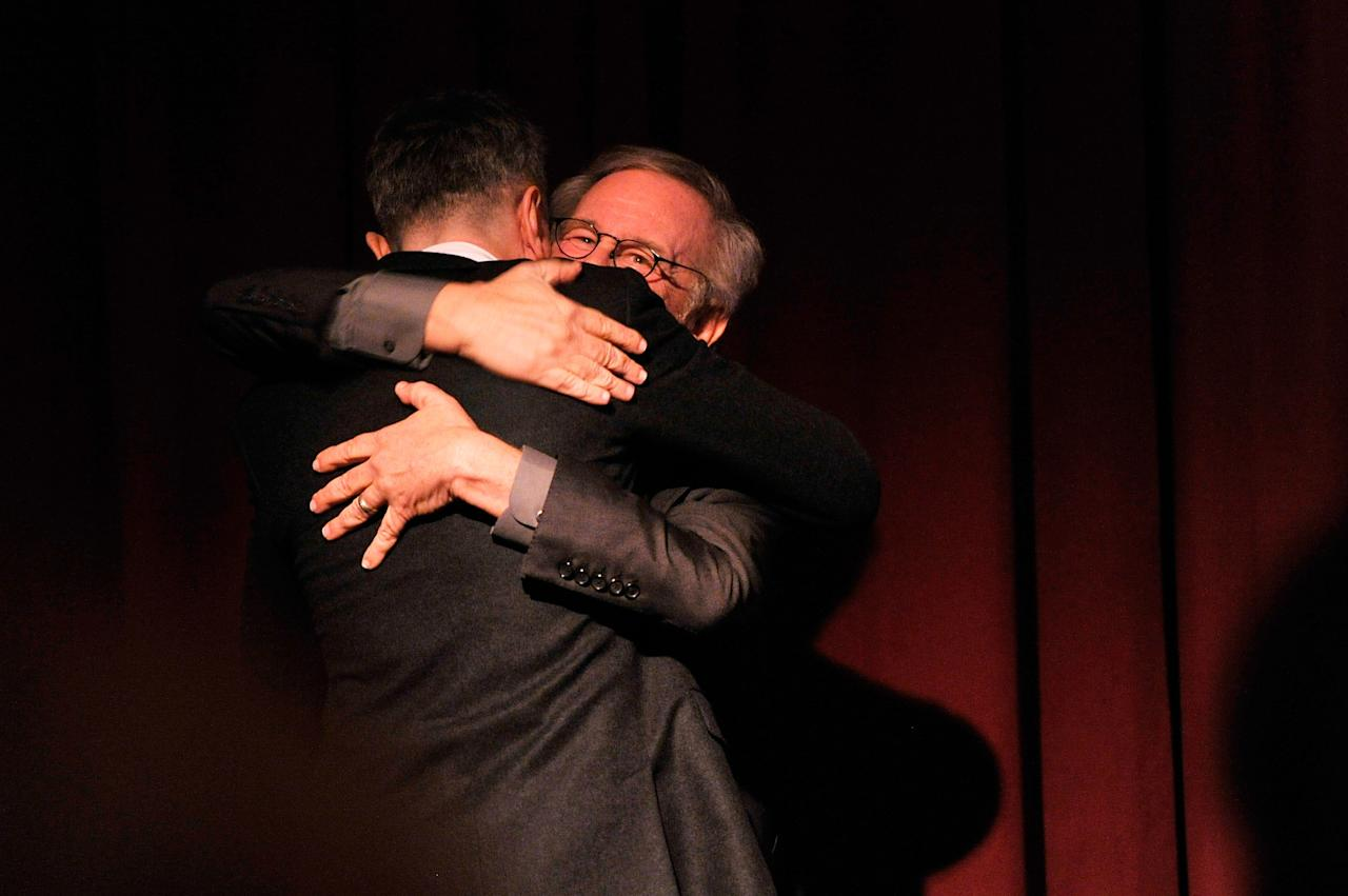 NEW YORK, NY - JANUARY 07:  Actor Daniel Day-Lewis (L) and director Steven Spielberg share a hug onstage at the 2012 New York Film Critics Circle Awards at Crimson on January 7, 2013 in New York City.  (Photo by Stephen Lovekin/Getty Images)
