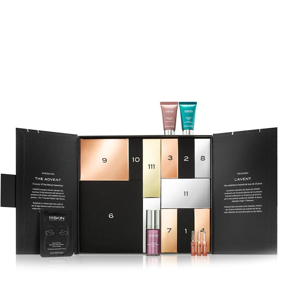 """<p><strong>$420.00</strong></p><p><a href=""""https://go.redirectingat.com?id=74968X1596630&url=https%3A%2F%2F111skin.com%2Fproducts%2Fthe-luxury-advent&sref=https%3A%2F%2Fwww.townandcountrymag.com%2Fstyle%2Ffashion-trends%2Fnews%2Fg2970%2Ffancy-advent-calendars%2F"""" rel=""""nofollow noopener"""" target=""""_blank"""" data-ylk=""""slk:Shop Now"""" class=""""link rapid-noclick-resp"""">Shop Now</a></p><p>Devotees to 111Skin's power-packed skincare will love this calendars with 11 mini skincare favorites and one full-sized Y Theorem Repair Serum Light, including a slew of anti-aging, brightening, and glow-inducing essentials to get you radiant for the holiday season. </p>"""