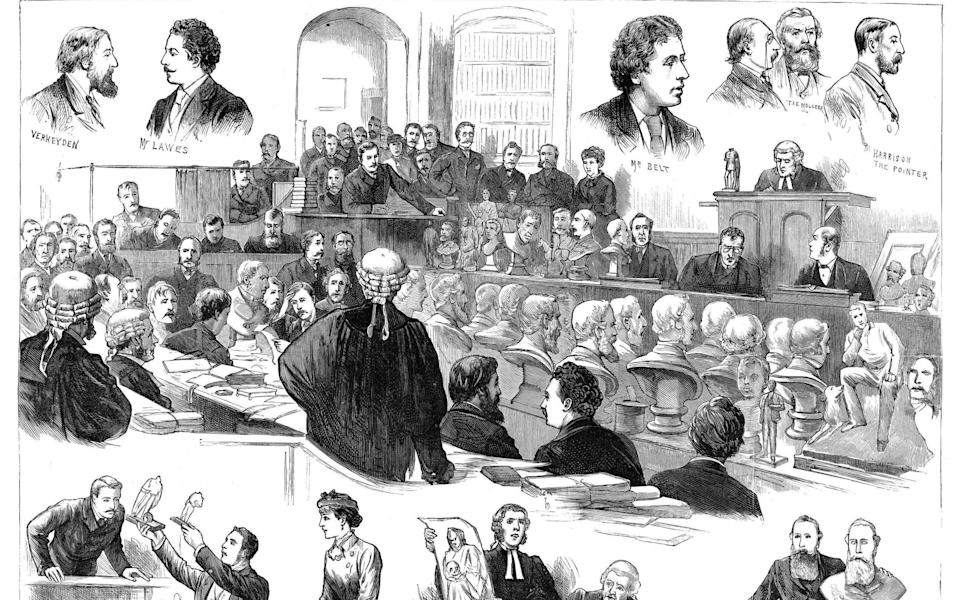 Genius or imposter? Scenes from the libel trial of Charles Lawes, after he accused fellow sculptor Richard Belt of deception - Granger Historical Picture Archive