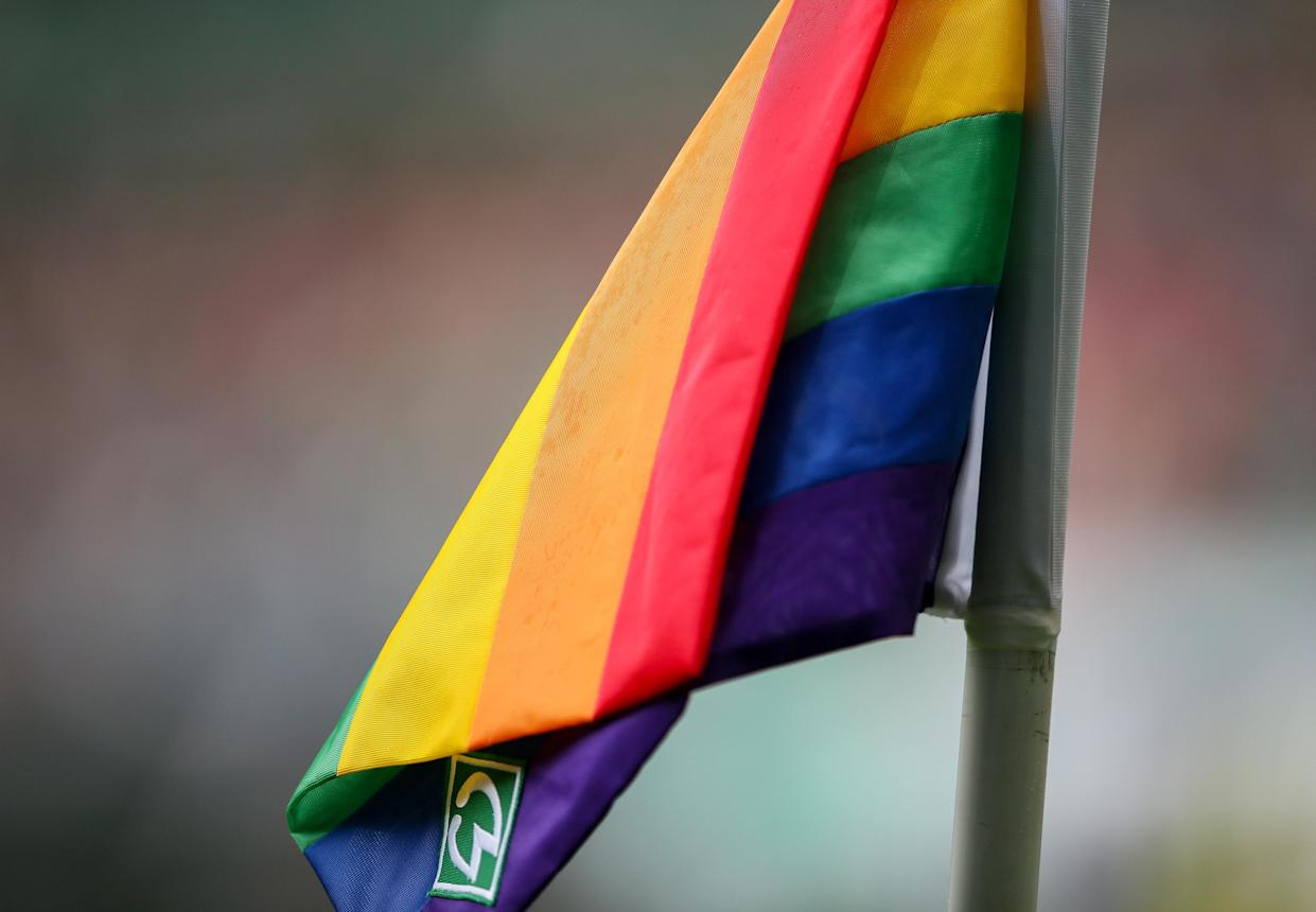 BREMEN, GERMANY - AUGUST 29: the rainbow corner flag is pictured during the Second Bundesliga match between SV Werder Bremen and FC Hansa Rostock at Wohninvest Weserstadion on August 29, 2021 in Bremen, Germany. (Photo by Selim Sudheimer/Getty Images)