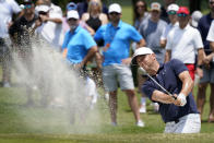 Alex Noren, of Sweden, hits out of a bunker on the first green during the third round of the AT&T Byron Nelson golf tournament, Saturday, May 15, 2021, in McKinney, Texas. (AP Photo/Tony Gutierrez)