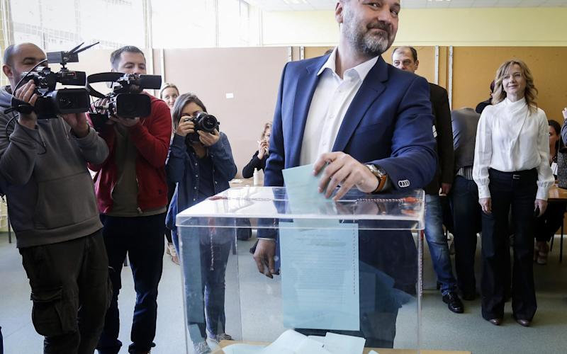 Sasa Jankovic, an opposition candidate, casts his ballot - Credit: Srdjan Stevanovic/Getty Images Europe