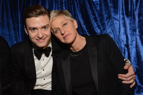 Singer Justin Timberlake and television personality Ellen DeGeneres attends the 55th Annual GRAMMY Awards at STAPLES Center on February 10, 2013 in Los Angeles, California.