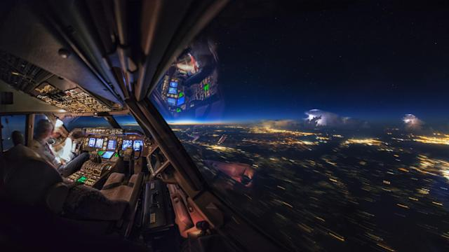 <p>A storm seen from the cockpit. (Photo: Christiaan van Heijst/Caters News) </p>