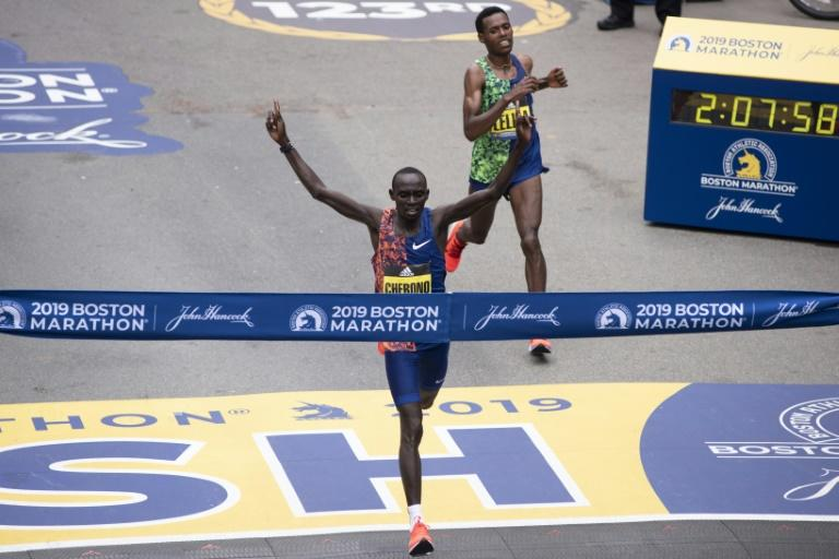 Kenyan Lawrence Cherono edgesEthopian Lelisa Desisa for the 2019 Boston Marathon title. The 2020 edition has been cancelled after originally being rescheduled for September because of COVID-19