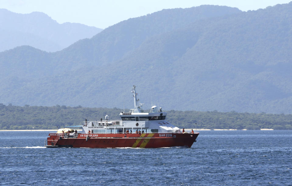 A National Search and Rescue Agency rescue ship sails to join the search for submarine KRI Nanggala that went missing while participating in a training exercise on Wednesday, off Banyuwangi, East Java, Indonesia, Friday, April 23, 2021. Rescuers continued an urgent search Friday for an Indonesian submarine that disappeared two days ago and has less than a day's supply of oxygen left for its crew. (AP Photo)