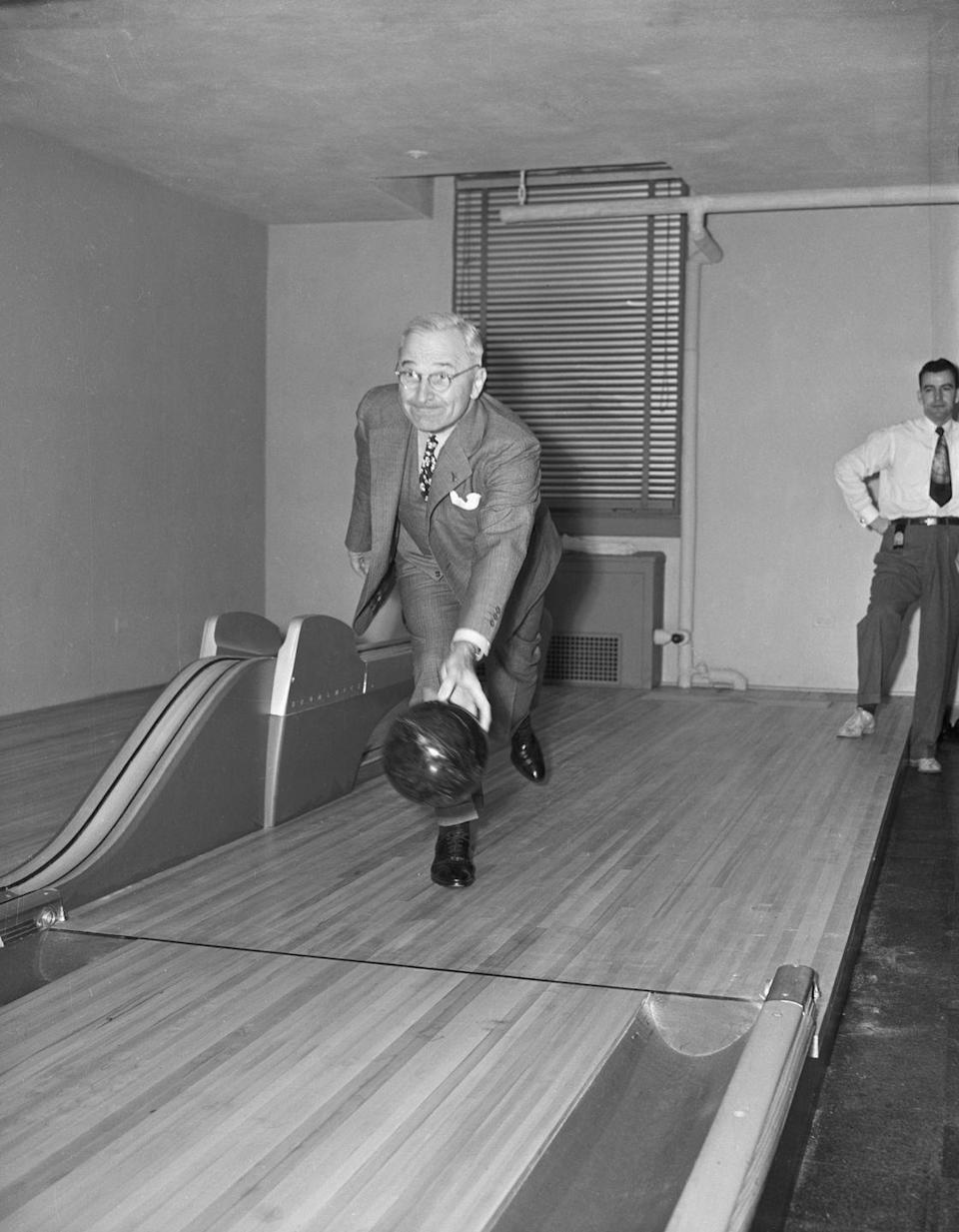 "<p>As a birthday present to President Harry Truman, a two-lane bowling alley was installed in the White House. Truman didn't use the gift much, but it was reported that his staff did, and that they even <a href=""http://mentalfloss.com/article/22413/white-house-gift-guide-13-unique-presidential-gifts"" rel=""nofollow noopener"" target=""_blank"" data-ylk=""slk:created a bowling league"" class=""link rapid-noclick-resp"">created a bowling league</a>. </p>"