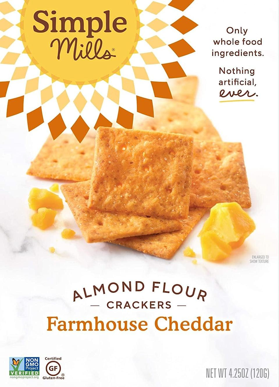 <p>Once you open these <span>Simple Mills Almond Flour Crackers</span> ($6), you'll practically be obligated to finish the box. They're that good.</p>