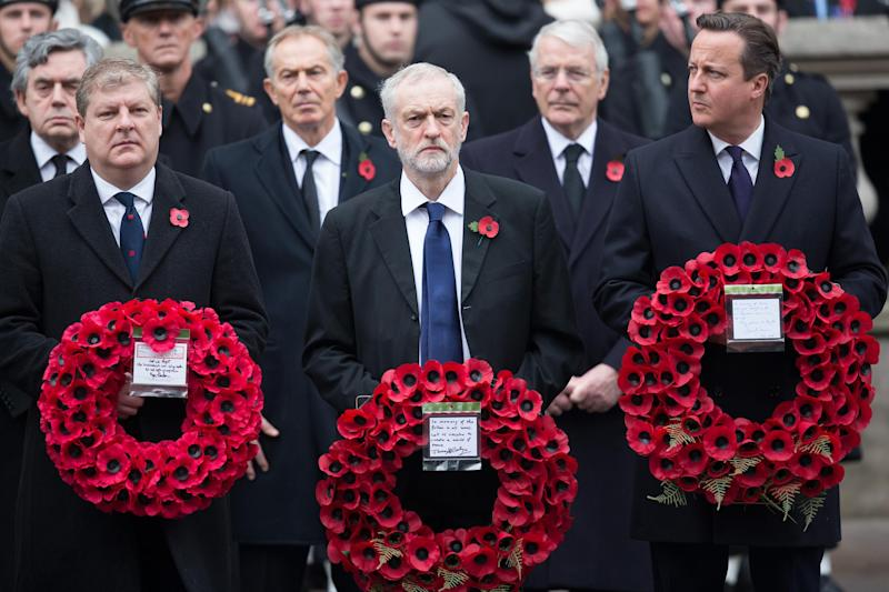 Angus Robertson, Jeremy Corbyn and David Cameron at the National Service in Whitehall in 2015 (Getty Images)