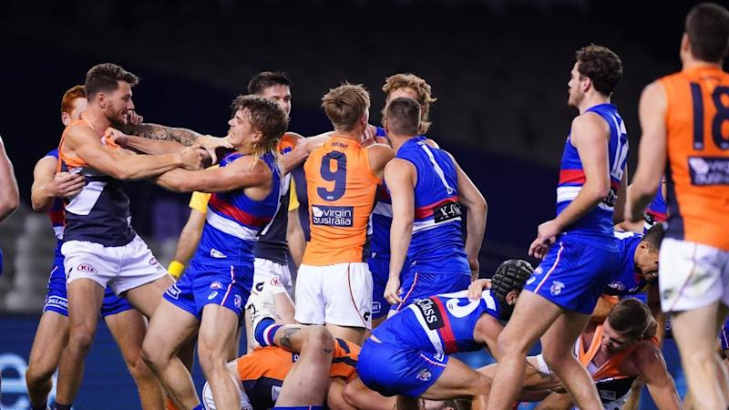 The Western Bulldogs have upset GWS in a fractious AFL clash at Marvel Stadium