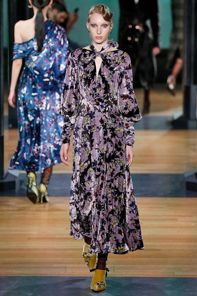 <p>A purple-and-black printed velvet dress at the Erdem FW18 show. (Photo: Getty) </p>