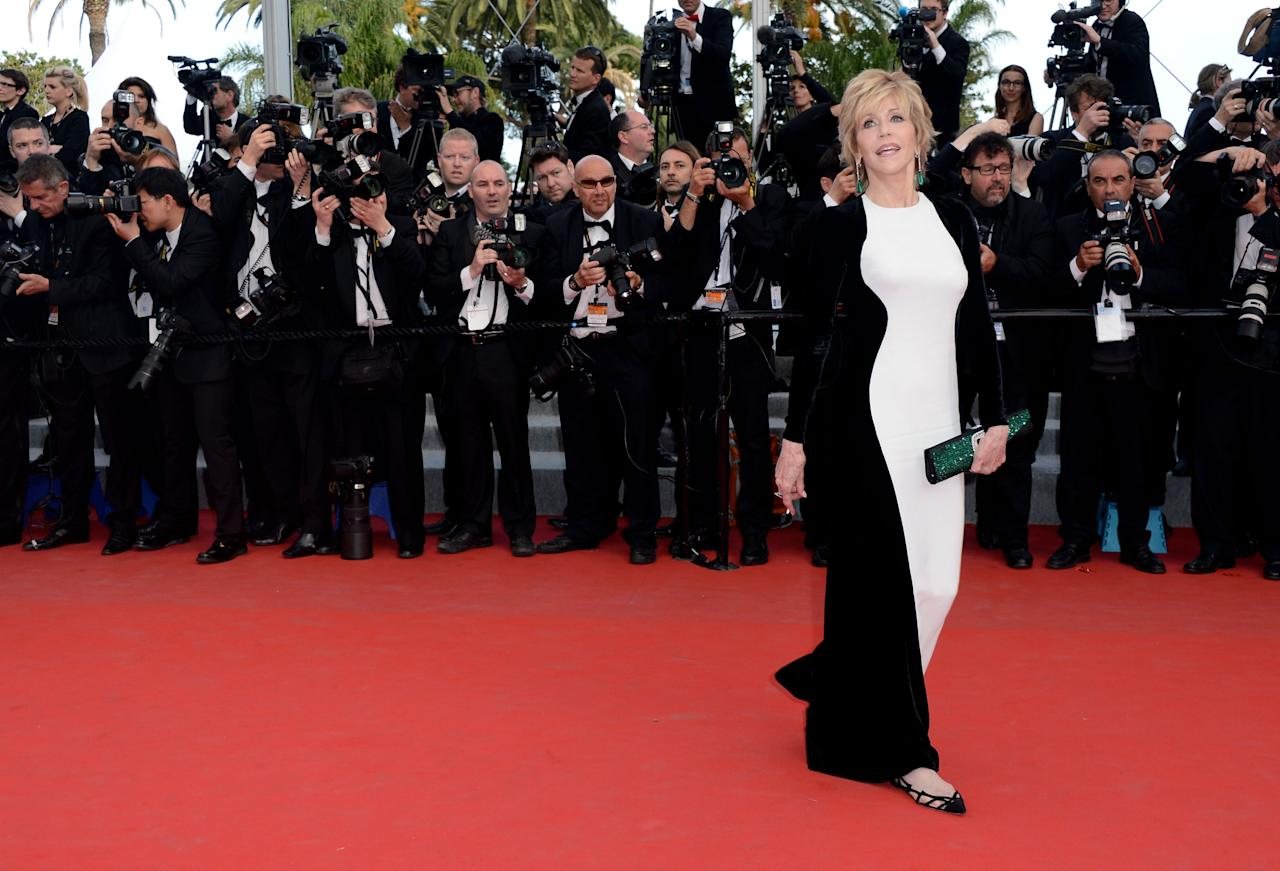 "CANNES, FRANCE - MAY 17:  Actress Jane Fonda attends the ""De Rouille et D'os"" Premiere during the 65th Annual Cannes Film Festival at Palais des Festivals on May 17, 2012 in Cannes, France.  (Photo by Pascal Le Segretain/Getty Images)"