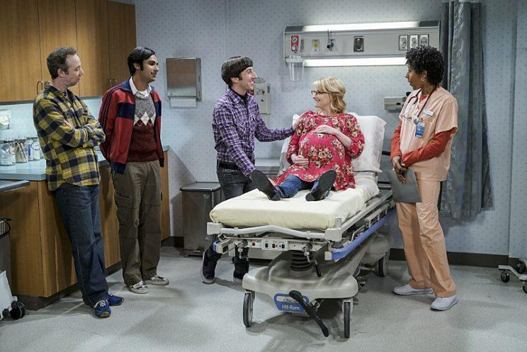 Kevin Sussman, Kunal Nayyar, Simon Helberg, and Melissa Rauch in <em>The Big Bang Theory.</em> (Photo: Monty Brinton/CBS ©2016 CBS Broadcasting, Inc. All Rights Reserved.)