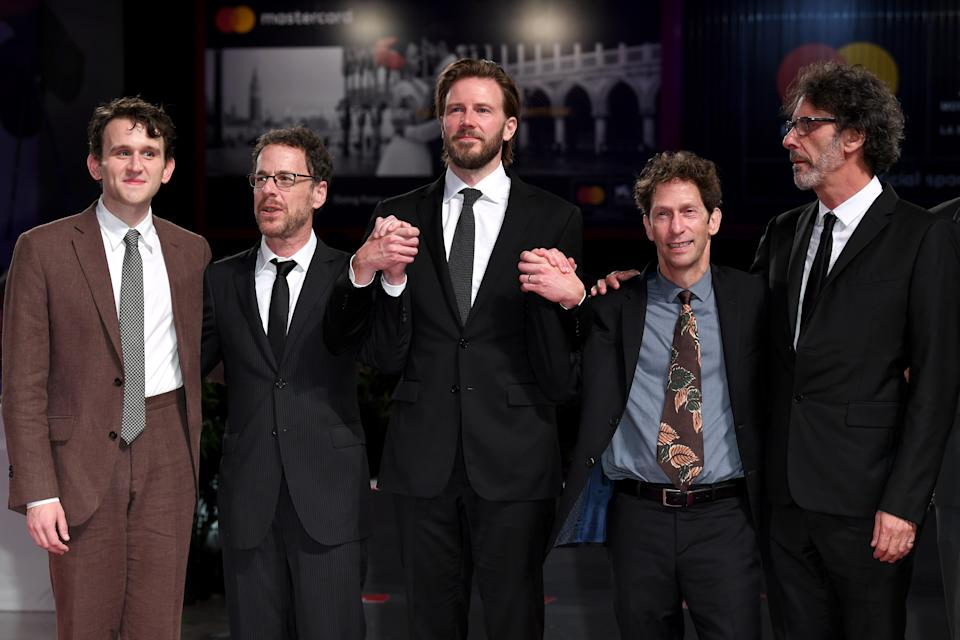 VENICE, ITALY - AUGUST 31:  (L-R) Harry Melling, Ethan Coen, Bill Heck, Tim Blake Nelson, Joel Coen walk the red carpet ahead of the 'The Ballad of Buster Scruggs' screening during the 75th Venice Film Festival at Sala Grande on August 31, 2018 in Venice, Italy.  (Photo by Daniele Venturelli/Daniele Venturelli/WireImage)