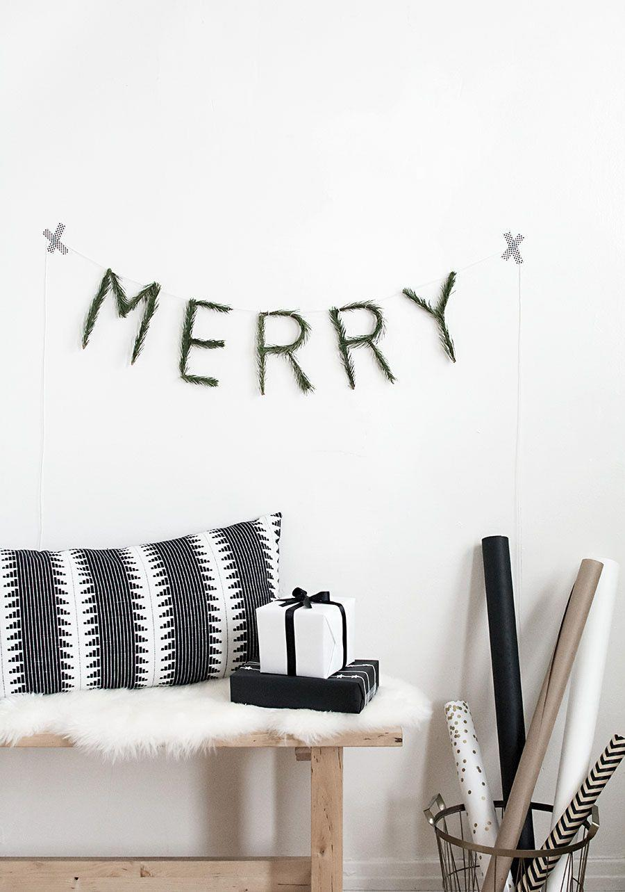 """<p>Use floral wire to spell out a seasonal word or greeting—like """"merry""""—then twist evergreen around each one for a simple, yet striking Christmas garland. </p><p><a href=""""https://www.homeyohmy.com/diy-merry-garland/"""" rel=""""nofollow noopener"""" target=""""_blank"""" data-ylk=""""slk:Get the tutorial."""" class=""""link rapid-noclick-resp"""">Get the tutorial.</a></p><p><a class=""""link rapid-noclick-resp"""" href=""""https://www.amazon.com/gp/product/B001K7QAYM?tag=syn-yahoo-20&ascsubtag=%5Bartid%7C10072.g.37499128%5Bsrc%7Cyahoo-us"""" rel=""""nofollow noopener"""" target=""""_blank"""" data-ylk=""""slk:SHOP FLORAL WIRE"""">SHOP FLORAL WIRE</a></p>"""
