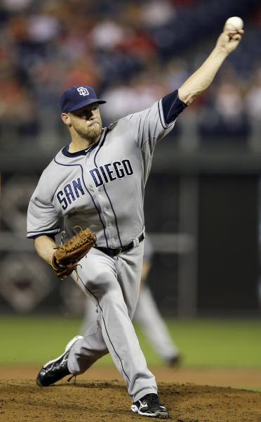 San Diego Padres' Eric Stults pitches during the third inning of a baseball game against the Philadelphia Phillies, Wednesday, Sept. 11, 2013, in Philadelphia. (AP Photo/Matt Slocum)